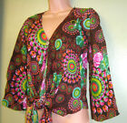 New Fair Trade Gringo Long sleeve Bright Printed Tie front Top Hippy Boho