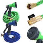 25FT-100FT 3X EXPANDING FLEXIBLE GARDEN HOSE PIPE BRASS ENDS & SPRAY NOZZLE LW