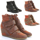 Womens Trainer  Wedges Lace Up Platform Ankle Hi Tops Style Boots Shoes Size