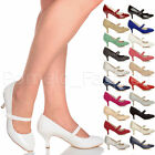 WOMENS LADIES LOW MID HEEL MARY JANE BRIDESMAID WEDDING PROM SHOES PUMPS SIZE