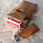 Genuine Eel Skin Leather Cigarette Case Pouch with Mini Lighter Pouch