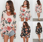 Womens Summer V Neck Long Sleeve Floral T-Shirt Ladies Beach Tops Loose...