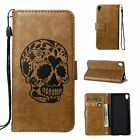 Skull Wallet Leather Case Card Slot Flip Stand Cover For Samsung Huawei LG Sony