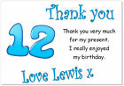 10 Personalised Thank you CARDS & envs, thanks birthday age 12 party boys twelve