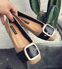 Women Buckle Strap Suede Slip On Simple Loafers Oxford Flats Work Boat Shoes 4-9