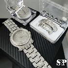 Men Luxury Hip Hop Iced Out White Gold PT Watch & Earrings & Grillz Combo Set