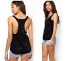 New Women Sexy Sleeveless Loose Sport Gym Sheer Tops Blouse Singlet T-shirt Hot