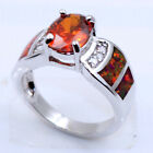 Fire Opal & Quartz Fashion Women Jewerly Silver Filled Ring Size 6 7 8 9