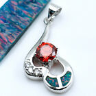 Fire Opal & Quartz Women Fashion Gems Silver Pendant P196