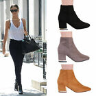 LADIES WOMENS HIGH BLOCK HEEL GOLD PULL ON ZIP FAUX SUEDE SHORT ANKLE BOOT SHOES