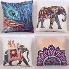 Indian Knitted Elephant Cotton Linen Throw Pillow Case Cushion Cover Sofa Decor