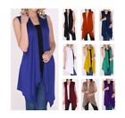 Women Open Vest Tunic Top Shawl Collar Draped Sleeveless Cardigan USA S M L XL