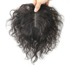 Handmade Natural Curly Mono Clip in Human Hair Top piece Hair Topper Hairpiece