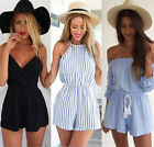 Womens Holiday Mini Playsuit Ladies Jumpsuit Summer Beach Dress Shorts *