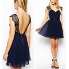 Womens Summer Casual Sleeveless Party Evening Cocktail Lace Short Mini Dress