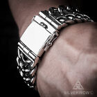 Herringbone Unique Mens Silver Bracelet - Quality Unique Heavy Wristwear