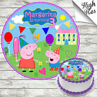 PEPPA PIG ROUND EDIBLE BIRTHDAY CAKE TOPPER DECORATION PERSONALISED