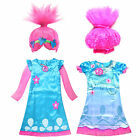Kid Girl Fancy Dress Trolls Princess Poppy Costume Outfit Cosplay Party Clothes