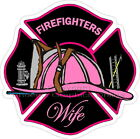 Firefighters Wife Pink Maltese Cross Reflective Decal Sticker Paramedic EMT EMS
