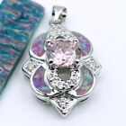 Fire Opal & Quartz & Zircon Women Jewelry Gems Silver Pendant P226