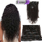 Afro Kinkys Curly Clip in Remy Human Hair Extensions 7pcs 100/120G Natural Black
