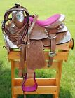 """10"""" 12"""" 14"""" Youth Western Tooled Leather Show Saddle Set with Pink Accents"""
