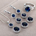 New Jewelry Set Sapphire Cz 925 Silver Fashion Necklace Pendant+earring+ring