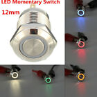Chrome 4 Pin 12mm Led Light Metal Push Button Momentary Switch Waterproof 12v
