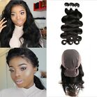 Peruvian Body Wave Pre Plucked 360 Lace Frontal With Wig Cap 3 Bundles Weave