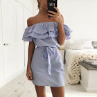 New Women Summer Casual Sleeveless Evening Party Cocktail Beach Short Mini Dress <br/> Latest Style! Off Shoulder &amp; Striped &amp; Flounce Design!