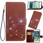 Diamond Clover Flower Card Slot Wallet Flip Leather Cover Case For Huawei HTC