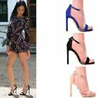LADIES WOMENS HIGH HEEL CLEAR ANKLE STRAPY SANDAL PARTY PROM PEEP TOE SHOES SIZE