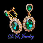 Luxury Colorful Swarovski Crystal Rhinestones Snow Pieces Earrings Clip On