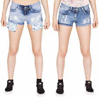 Noroze Femme Déchirer Shorts Floral Perlé Denim Hot Pants Pantalon Courte