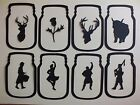 8 SCOTLAND JARS FANTASY  for CANDLE JAR DIE CUT SILHOUETTE PIPER THISTLE STAG