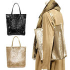 Synthetic leather with sequins,Tote bag A4 portrait, Black,Gold