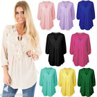 PLUS SIZE Women Summer Long Sleeve Shirt Casual Blouse Lace Loose Tops T Shirt