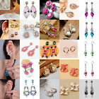 Women Gold/Silver Plated Wild Crystal Dangle Hook Earrings Ear Stud