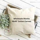16x16 Wholesale Blank Cotton Canvas Throw Pillow Cover - White or Natural