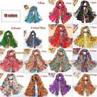 Women Soft Long Neck Large Scarf Wrap Shawl Stole Scarve Chiffion Flowers Cotton