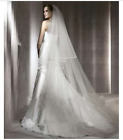 2 Layer Chapel White Ivory Wedding Veils Satin Edge Bridal Accessories Veil