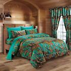 18 piece the woods teal camo design comforter set,  all sizes, 12  colors