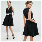 New Ted Baker Black Vexi Contrast Waist Gathered Fit & Flare Pink Bow Dress