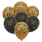 "12"" 10 Black & Gold Happy Birthday Age Number HELIUM LATEX BALLOONS Party Decor"