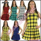 Women's Mini Dress Tartan Summer Ladies Checked Dress Casual One Size 8,10,12,14