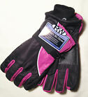 Rugged Wear Women Waterproof Ski Wrist Glove, Knit Cuff Foam Lined, Red & Black