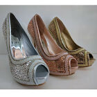 WOMENS LADIES DIAMANTE PROM WEDDING PARTY STILETTO HEELS PEEP TOES SHOES SIZE