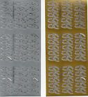 """Peel Offs """"WEDDING RINGS"""" Gold or Silver X 2 Sheets (A086) ****SALE****"""