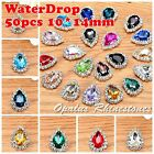 50ps 10*14mm Costume Dress WaterDrop Rhinestone Applique Sewing On Button