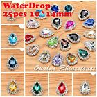 25ps 10*14mm Costume Dress WaterDrop Rhinestone Applique Sewing On Button